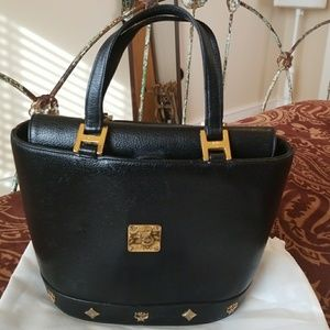 MCM Black Leather Small Tote